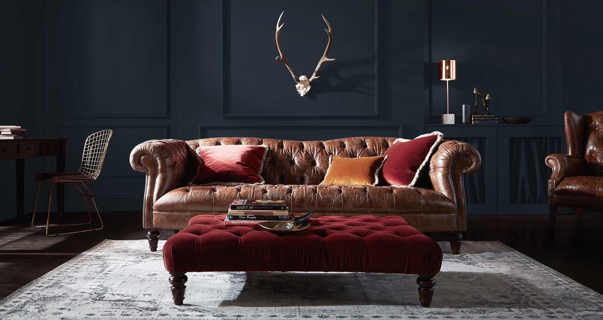 How to decorate a vintage chesterfield sofa